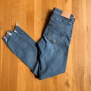 NWT Zara distressed blue skinny jeans